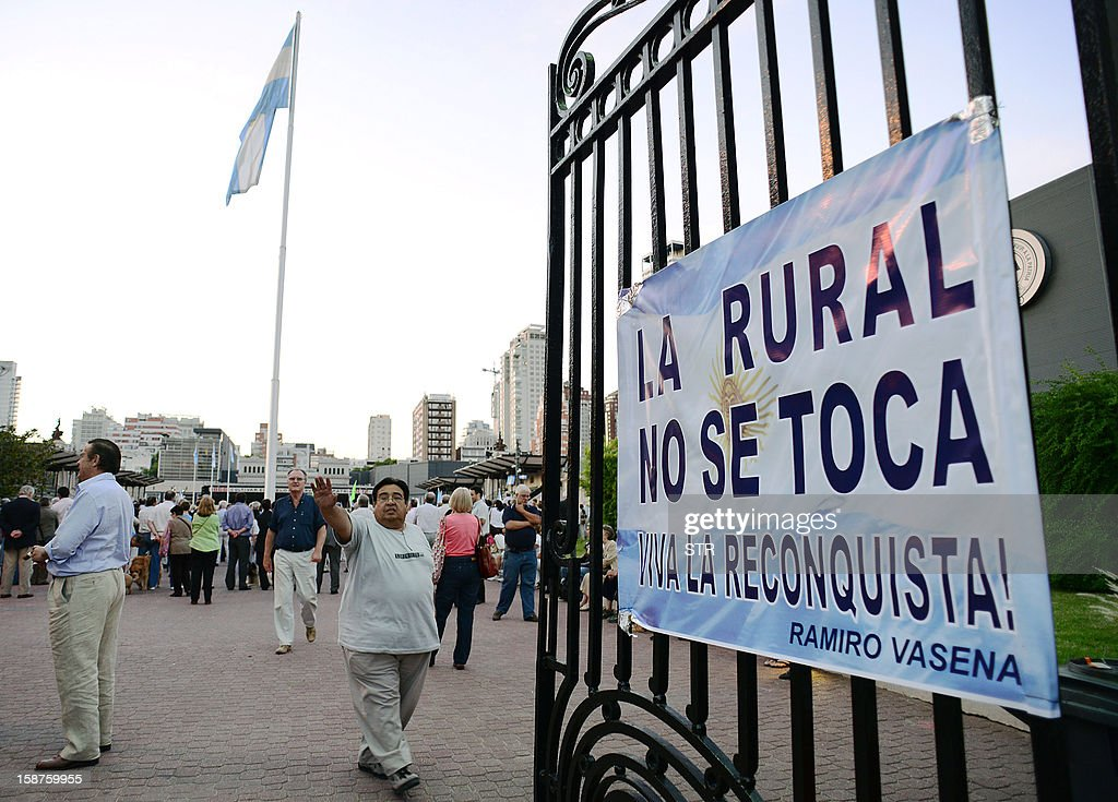 View at one of the entrances to the Rural Society grounds in Buenos Aires, while members of Argentinian rural organizations hold a protest against a decree issued by President Cristina Fernandez de Kirchner to expropiate the Rural Society grounds and give it back to the state, on December 27, 2012. AFP PHOTO