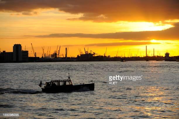 View at Rotterdam harbor during sunset