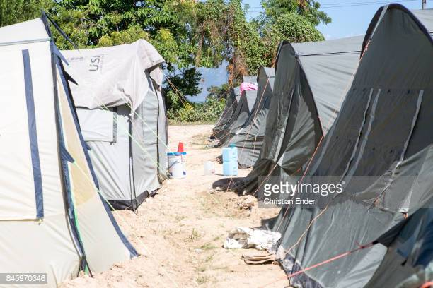 PortauPrince Haiti December 09 2012 View at several tents in the refugee camp Parc Colofe in PortauPrince The camp exist since the devastating...