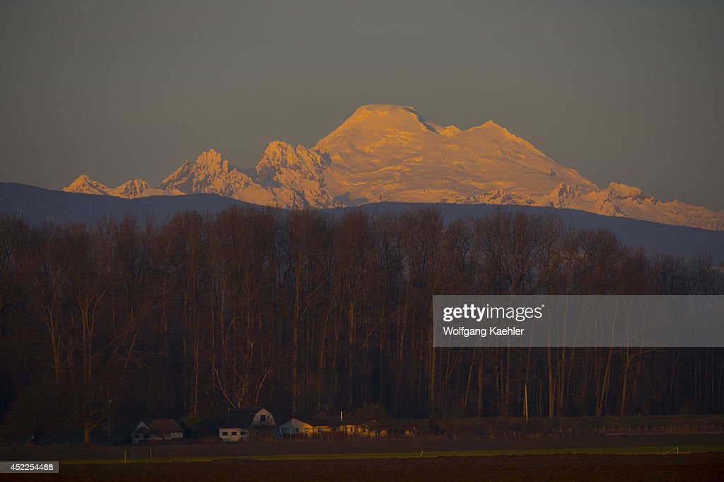 View at sunset of Mount Baker in the North Cascade Mountains from the Skagit Valley in Washington State USA