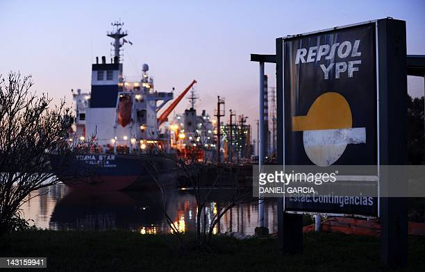 View at sunset of the port next to the gas plant of the company YPF in Dock Sud Buenos Aires on April 19 2012 Argentina's government said it had...