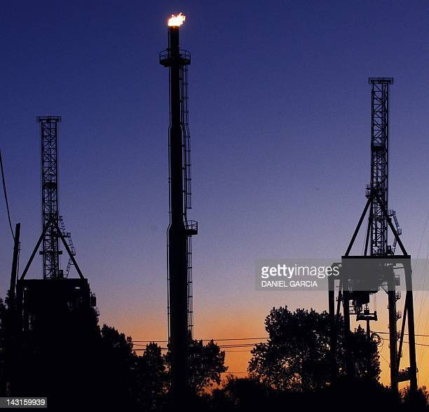View at sunset of the YPF gas plant in Dock Sud Buenos Aires on April 19 2012 Argentina's government said it had reached and agreement with France's...