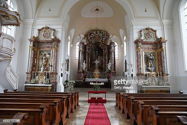 View at the altar of the St Joseph church after a rehearsal of the wedding of Maria Theresia Princess von Thurn und Taxis and Hugo Wilson on...
