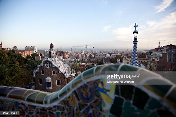 View at the city from Park Guell on November 16 2009 in Barcelona Spain