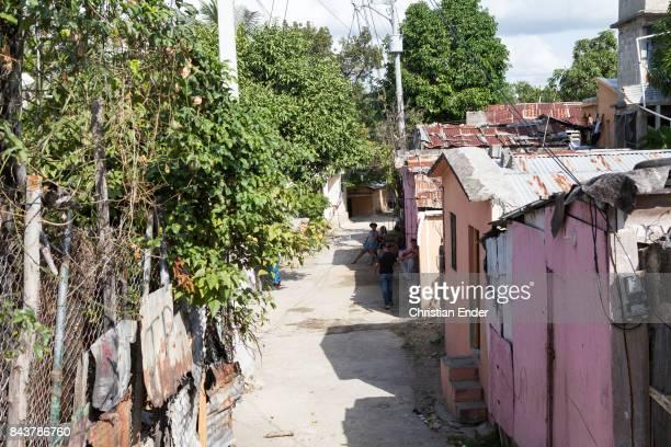 Santa Domingo Dominican Republic November 30 2012 View at the slum 'Los Alcarrizos' in Santa Domingo housings with tin roof can be seen
