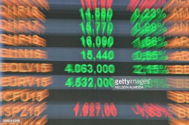 View at the Stocks Exchange headquarters in downtown Sao Paulo Brazil on September 22 2015 The dollar runs higher on Tuesday and passes the...