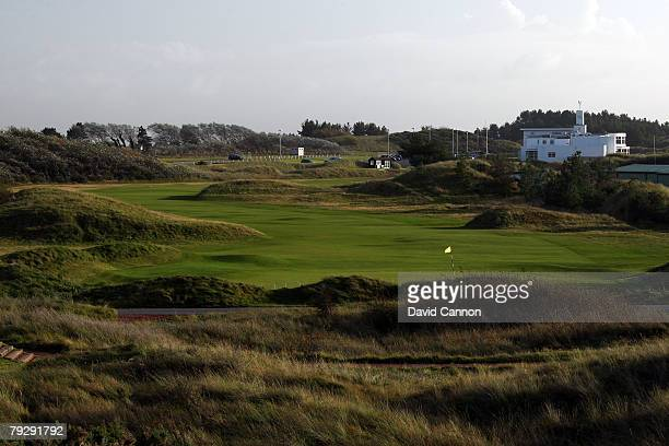 A view behind the green on the par 4 1st hole at Royal Birkdale Golf Club venue for the 2008 Open Championship on October 9 2007 in Southport England