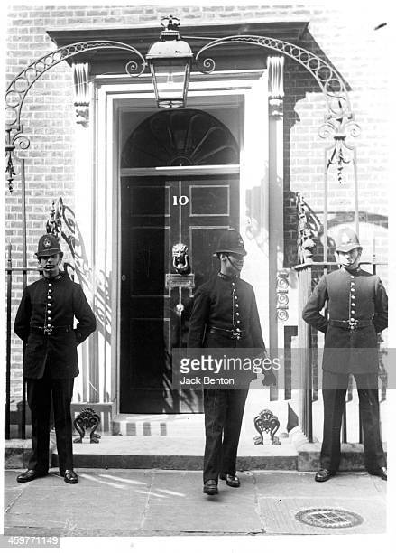 A view British Bobbies at 10 Downing Street in London England Circa 1900