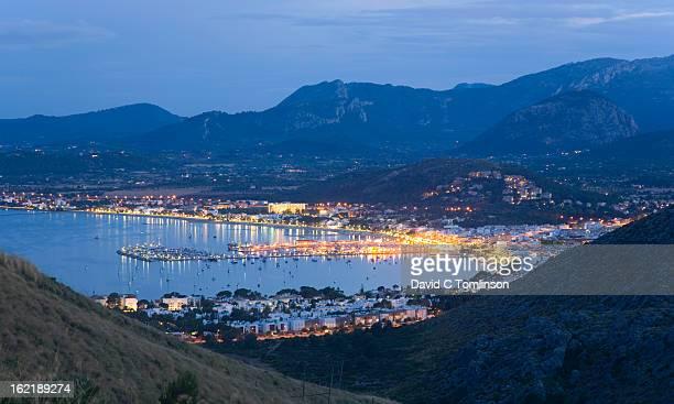 View by night, Port de Pollenca, Mallorca, Spain