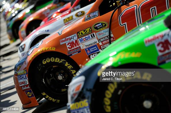 A view cars on pit road during qualifying for the 57th Annual Daytona 500 at Daytona International Speedway on February 15 2015 in Daytona Beach...