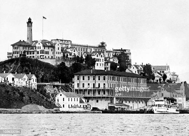 View dated 1930's of the Alcatraz island and penitentiary in the San Francisco Bay From the mid 1930's until the mid 1960's Alcatraz was America's...
