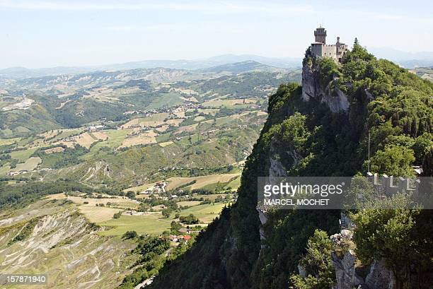 View dated 23 May 2003 of the Cesta o Fratta or second castle of the landlocked city of San Marino the oldest republic in the world Comprising only...