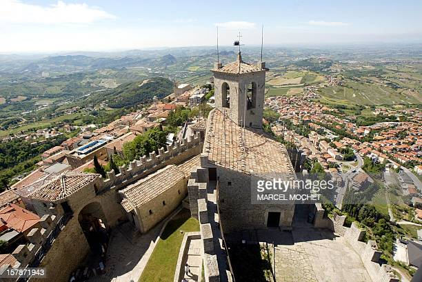 View dated 23 May 2003 of the main fort La Guaita guarding over the walled enclosure of historic San Marino the oldest republic in the world...