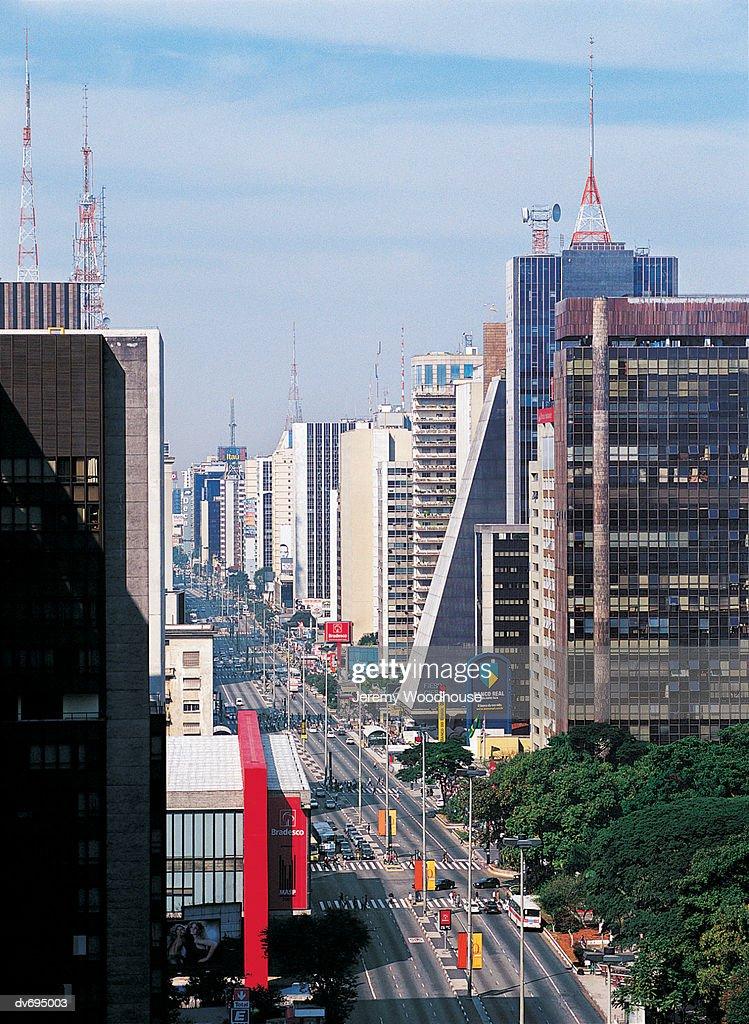 View down Avenida Paulista, Sao Paolo, Brazil : Stock Photo