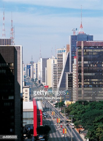 View down Avenida Paulista, Sao Paolo, Brazil : Stock Photo