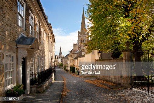View down Barn Hill, Stamford, Lincolnshire : Stock-Foto