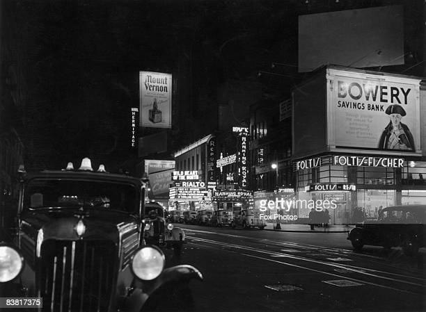 A view down Broadway New York December 1938