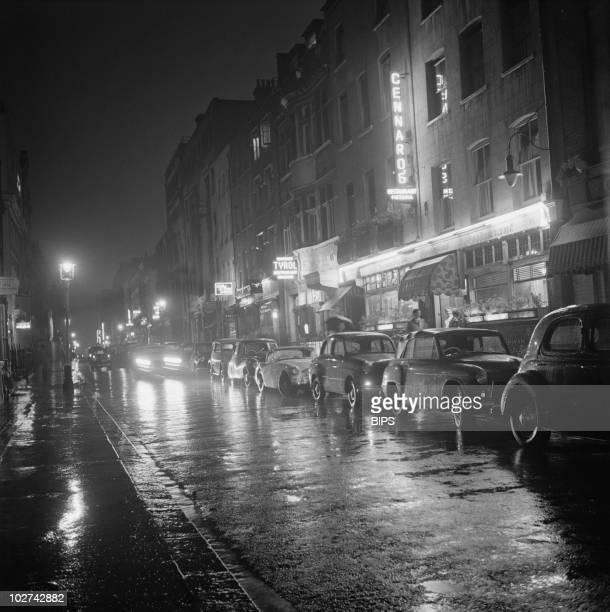 A view down Dean Street Soho London August 1955