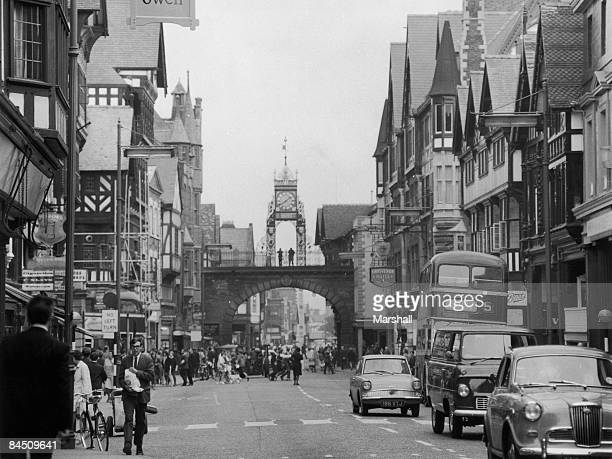 A view down Eastgate in Chester Cheshire 21st June 1966