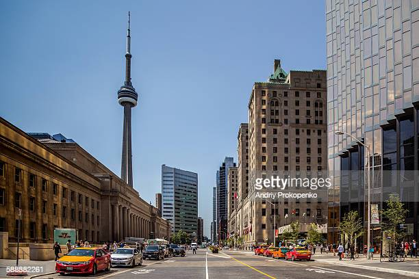 View down Front street in Toronto, Canada
