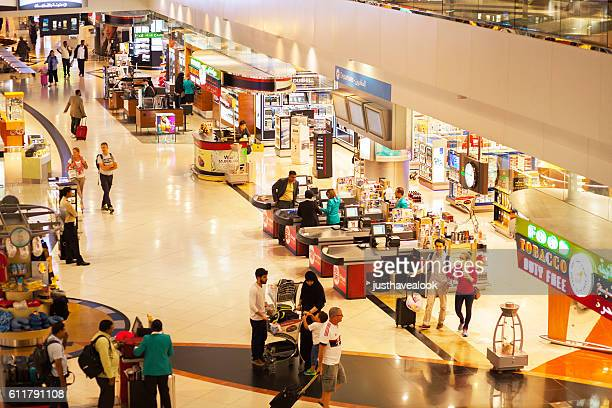 View down into duty free corridor