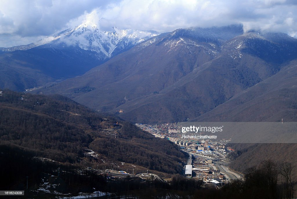 A view down into Krasnaya Polyana where the train station and buildings are being constucted on February 13, 2013 in Sochi, Russia. Sochi is preparing for the 2014 Winter Olympics with test events acroos all the venues.