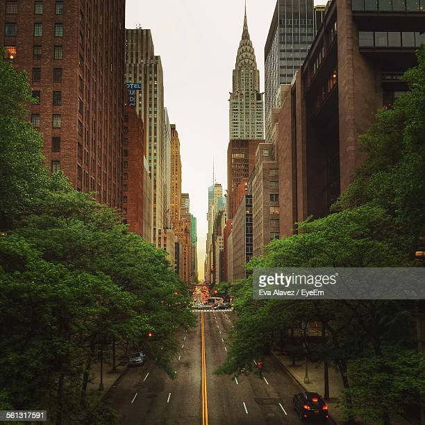 View Down Manhattan Street With Chrysler Building