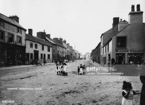 A view down Middlegate in the town of Penrith in the Lake District Cumbria circa 1890