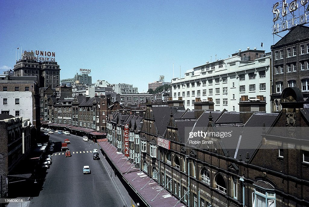 View down on buildings along George Street, Sydney, 1964 : Stock Photo