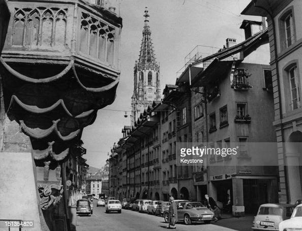 A view down the Junkerngasse in the Old City of Bern towards the Bern Minster cathedral Switzerland 10th July 1971