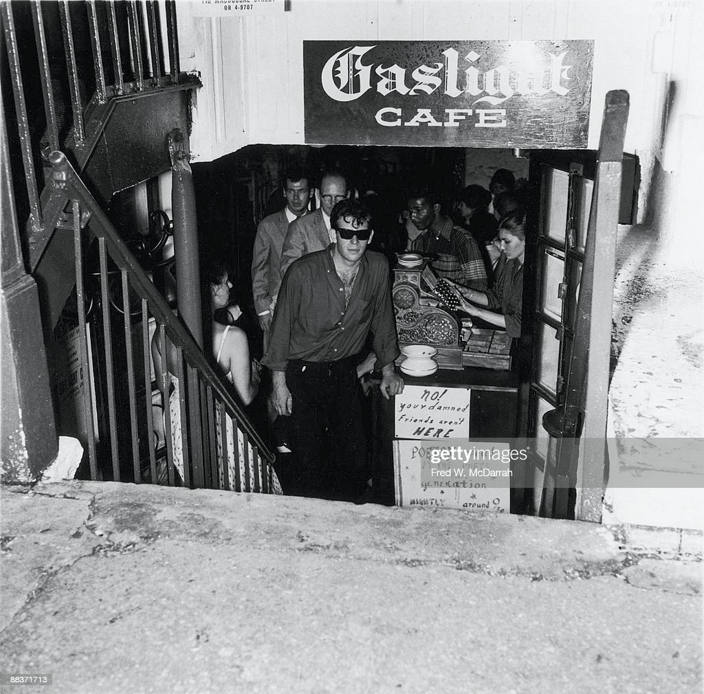 View down the step to the entrance of the Gaslight Cafe a coffee house and nightclub in Greenwich Village New York New York late 1950s One of the...