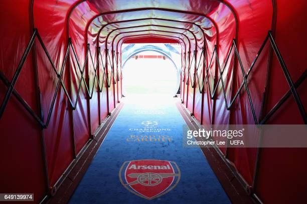 A view down the tunnel showing the Champions League carpet during the UEFA Champions League Round of 16 second leg match between Arsenal FC and FC...