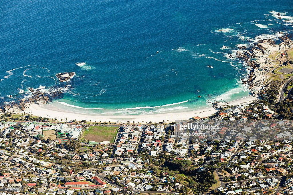 View down to beach of Camps Bay from top of Table Mountain, Cape Town, South Africa : Stock Photo