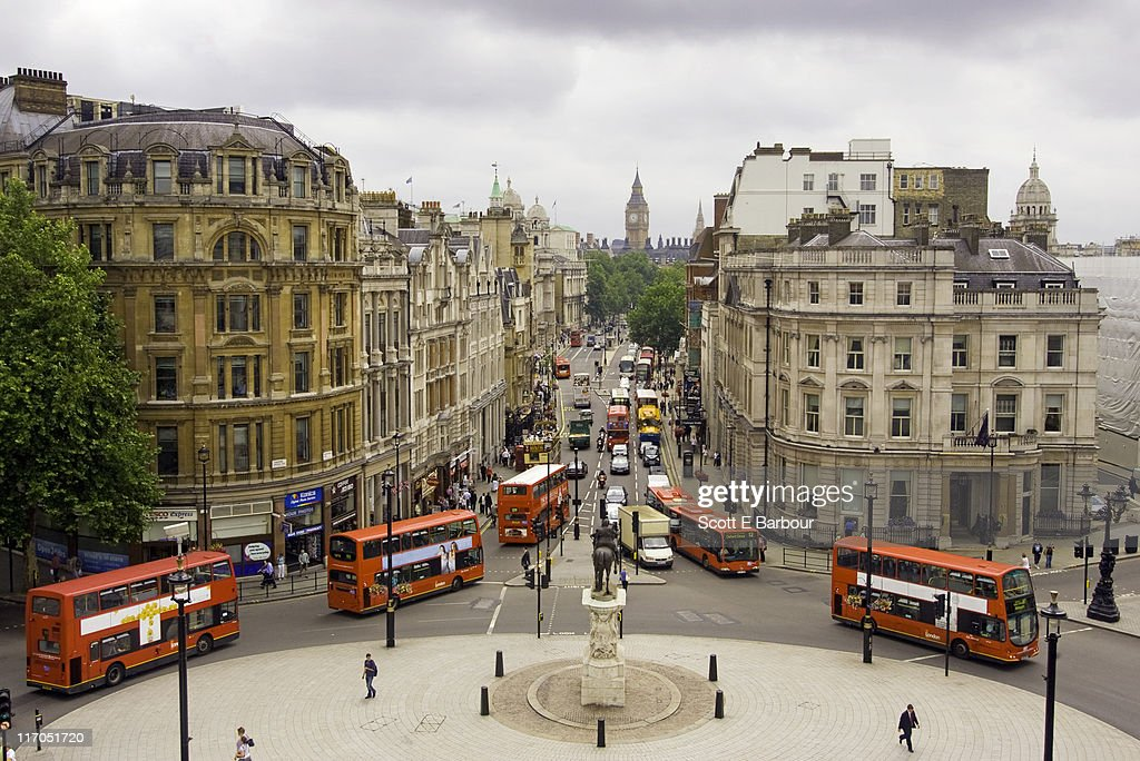 View down Whitehall of buses and Big Ben