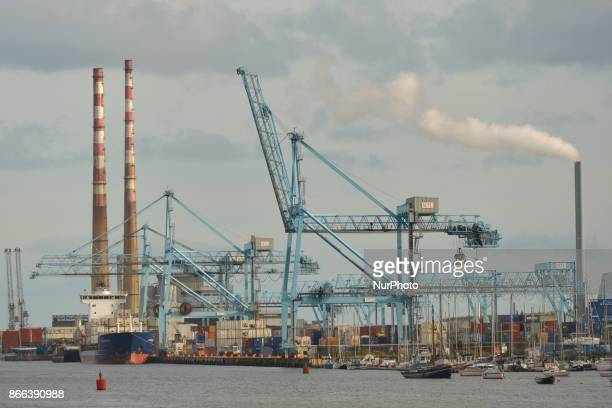A view Dublin Port and Poolbeg power station's chimneys in the back On Wednesday 25 October 2017 in Dublin Ireland