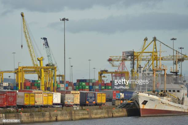 A view Dublin Port and track awaiting to be discharged On Wednesday 25 October 2017 in Dublin Ireland
