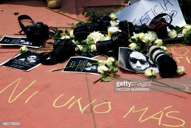 View during a demonstration to demand justice in the murder of Mexican photojournalist Ruben Espinosa in Guadalajara City on August 2 2015 Espinosa...