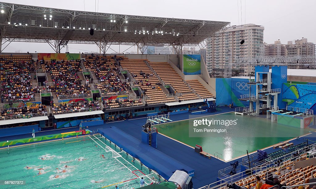 A view during Men's Preliminary Round Group A Match 14 Greece vs Hungary at the Maria Lenk Aquatics Centre on August 10 2016 in Rio de Janeiro Brazil