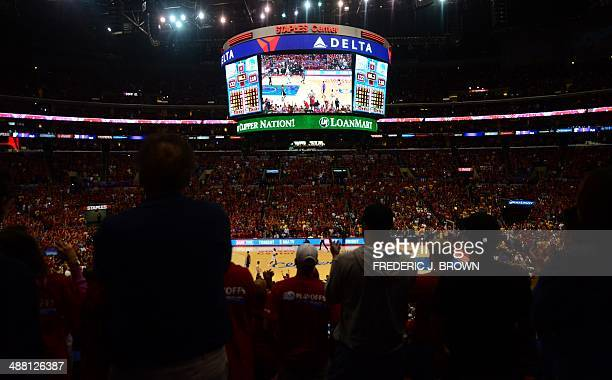 A view during the 4th quarter when working press photographers covering game 7 of the NBA's first round playoff series between the Los Angeles...