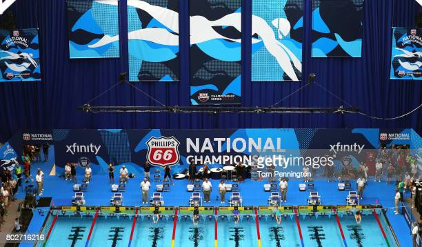 A view during the Women's 200 LC Meter Backstroke heat race during the 2017 Phillips 66 National Championships World Championship Trials at Indiana...