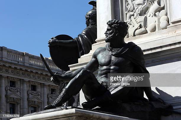 A view framed by a sculpture of the Justice Palace that host the 'Corte di Cassazione' during the final session to judge former Italian Prime...