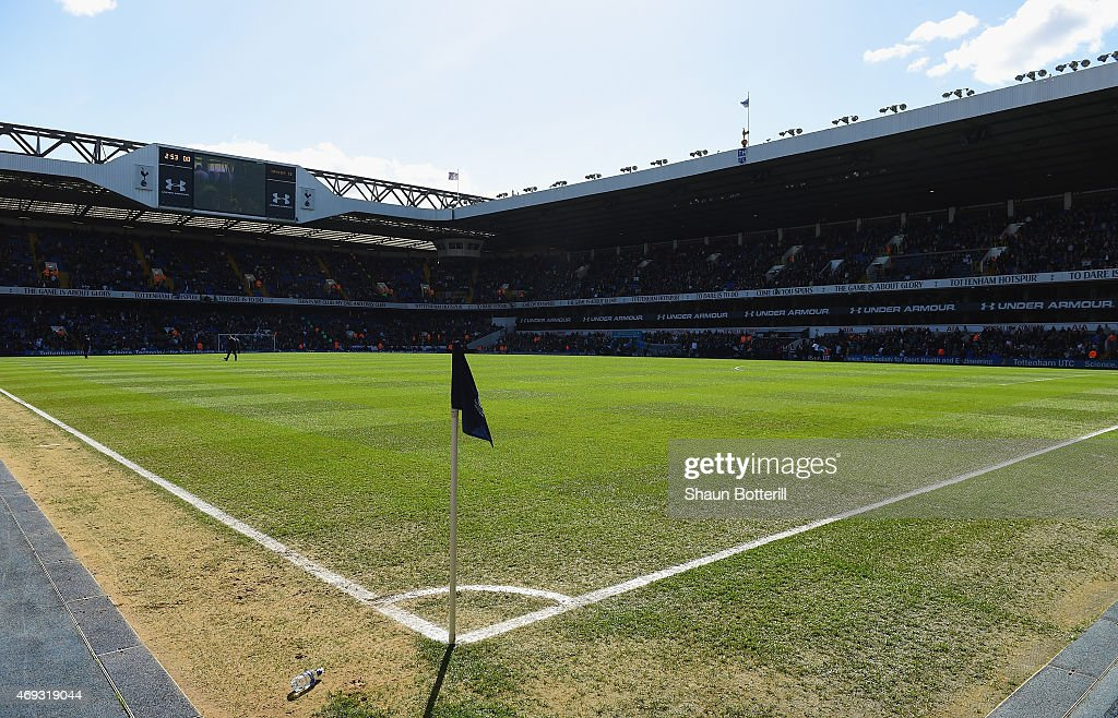 A view fro the corner flag before the Barclays Premier League match between Tottenham Hotspur and Aston Villa at White Hart Lane on April 11 2015 in...