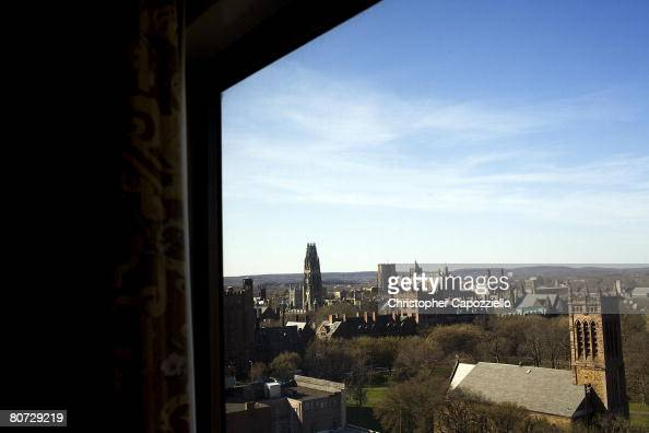 A view from a 9th floor room in the Omni Hotel overlooks downtown April 16 2008 in New Haven Connecticut New Haven home to Yale University boasts...