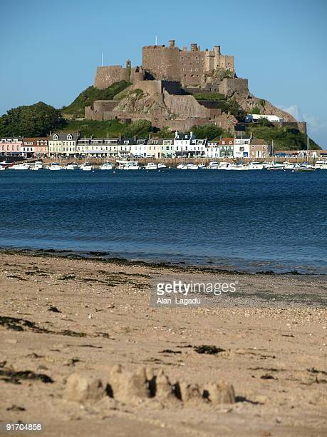 View from a beach at Gorey Castle in Jersey