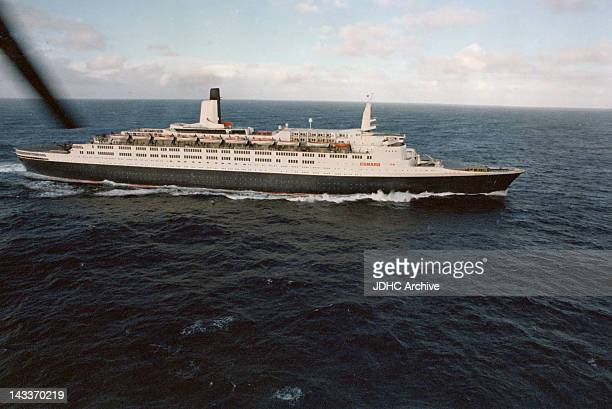 A view from a helicopter in the South Atlantic of the Cunard liner 'RMS Queen Elizabeth 2' which has been requisitioned as a British troopship during...