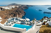 View from a house in Imerovigli on the Greek island of Santorini
