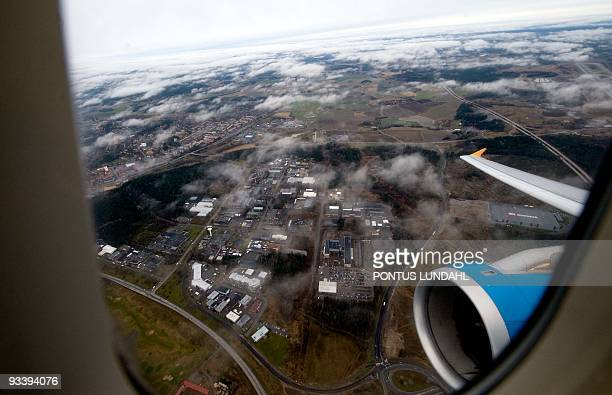 A view from a Novair Airbus A321 test flight taken during a demonstration of the new approach technique Required Navigation Performance on its way to...