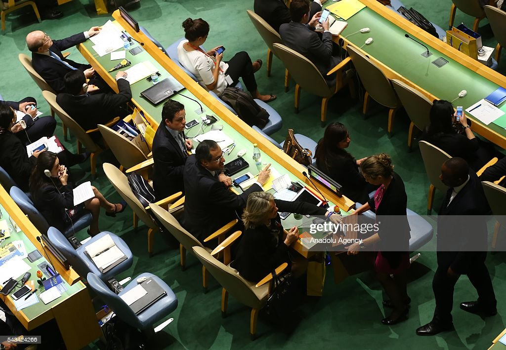 A view from a session, held for 3rd round of voting on five non-permanent seats on the Security Council which will be elected to two-year terms on the Council at UN Headquarters in New York, United States on June 28, 2016.