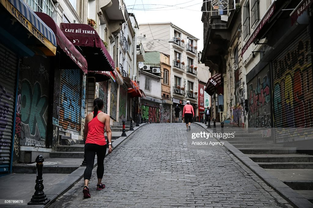 A view from a street which heads to Taksim Square as May Day demonstrations in Istanbul have not been allowed to take place at the city's famous square site by the authorities as main celebrations continue at an open market area in the Bakirkoy neighborhood located on the city's European side on May 01, 2016 in Istanbul, Turkey. Every year, May Day is observed and commemorated as an official holiday under the name 'May 1, Labour and Solidarity Day' all around Turkey.