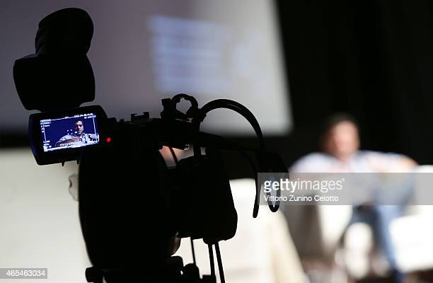 A view from a TV camera as Richard Pena moderates the first Qumra Master Class with academy award winning Director Danis Tanovic during the inaugural...